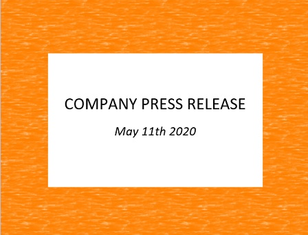 Company Press Release, May 11th 2020
