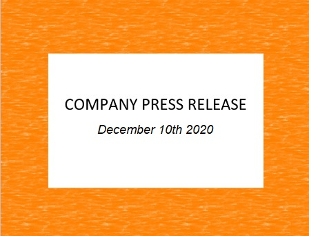 Company Press Release, December 10th 2020